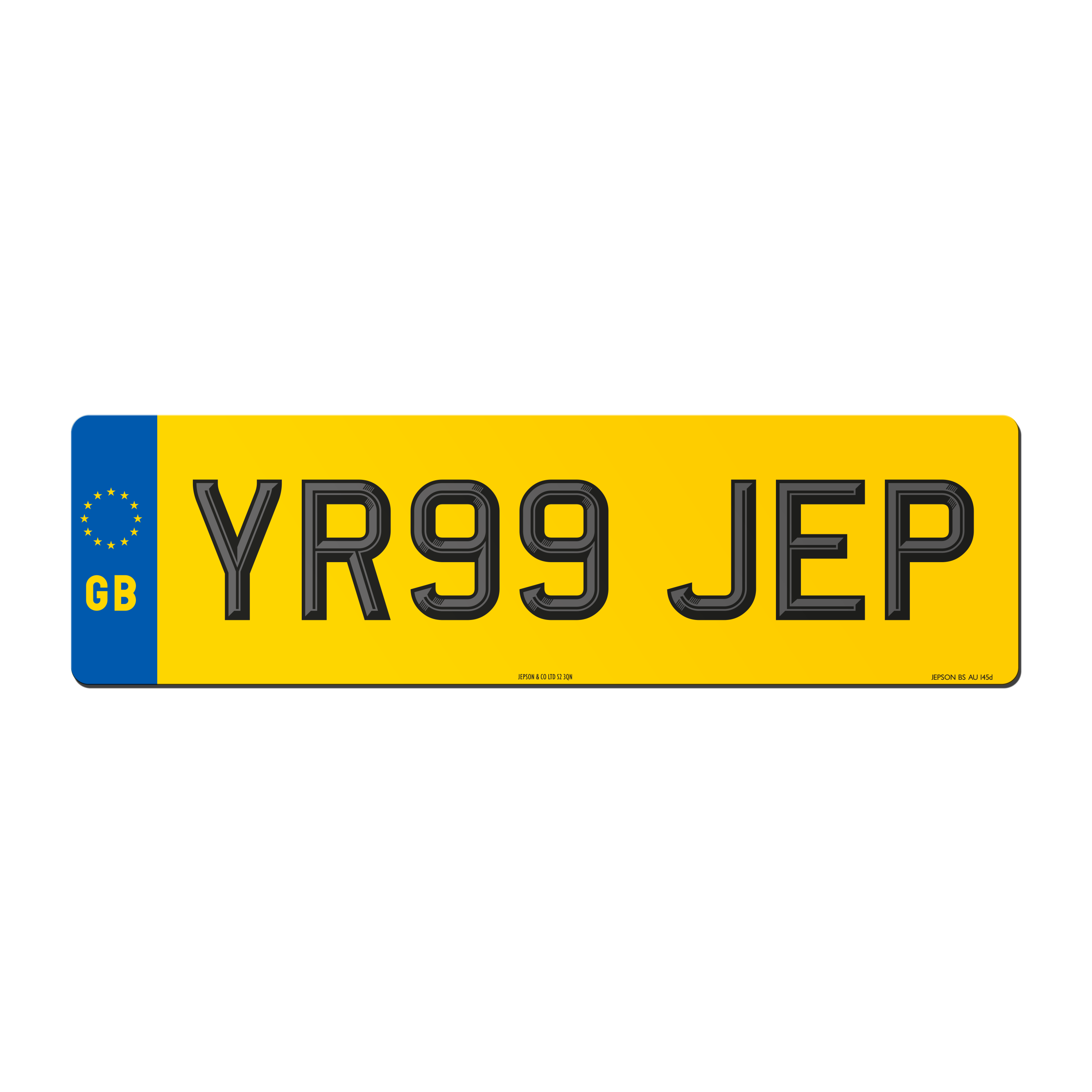 Made-Up Oversize Car Rear Plate: 520 X 152mm With Two-Tone Digits and GB flag