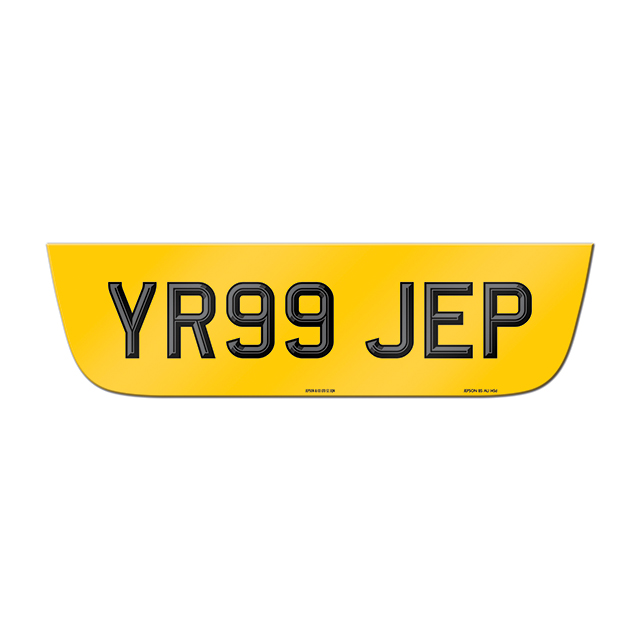 Made-up shaped rear plate: Jaguar S-Type (Post 2004) with two-tone digits