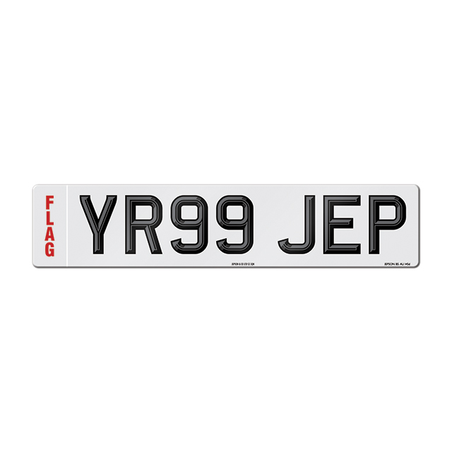 Made-up car standard oblong front plate: 520 x 111mm with two-tone digits and regional flag