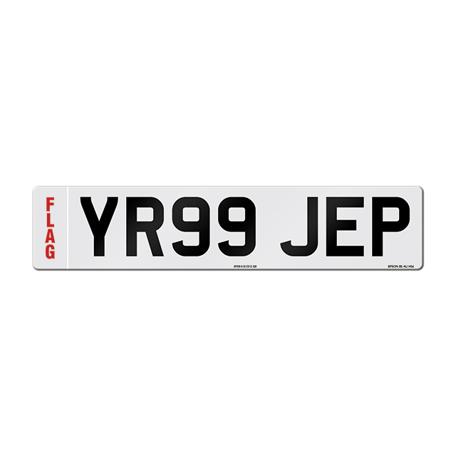 Made-up car standard oblong front plate: 520 x 111mm with regional flag
