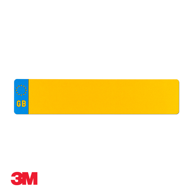 Car standard oblong 3M yellow reflective: 520 x 111mm with GB flag