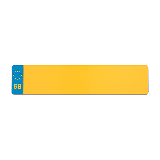 Car standard oblong Nikkalite yellow reflective: 520 x 111mm with GB flag
