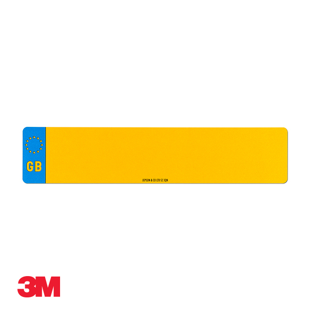 Car standard oblong 3M yellow reflective: 520 x 111mm (pre-printed) with GB flag