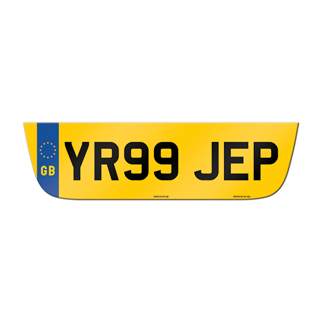 Made-up shaped rear plate: Jaguar XF with GB