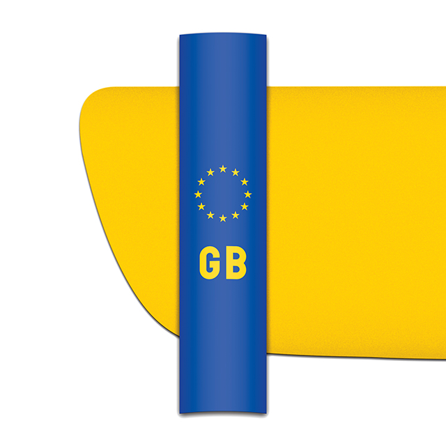 Sticker for car: GB flag for yellow