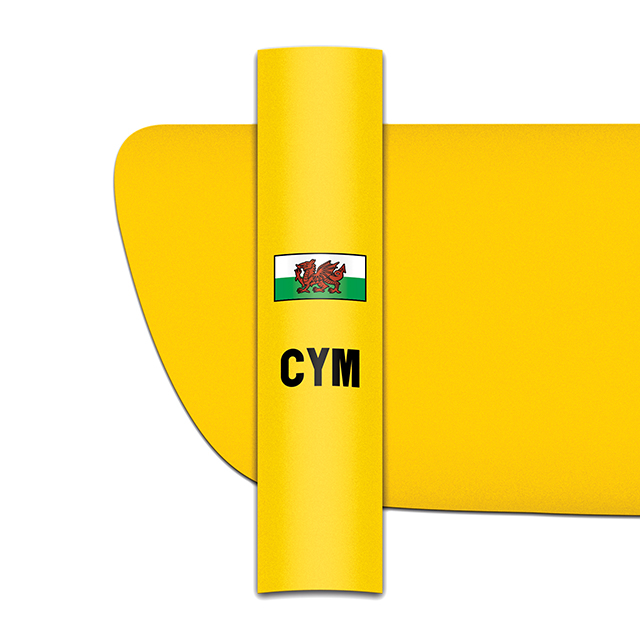 Sticker for car: Welsh Dragon option B flag for yellow