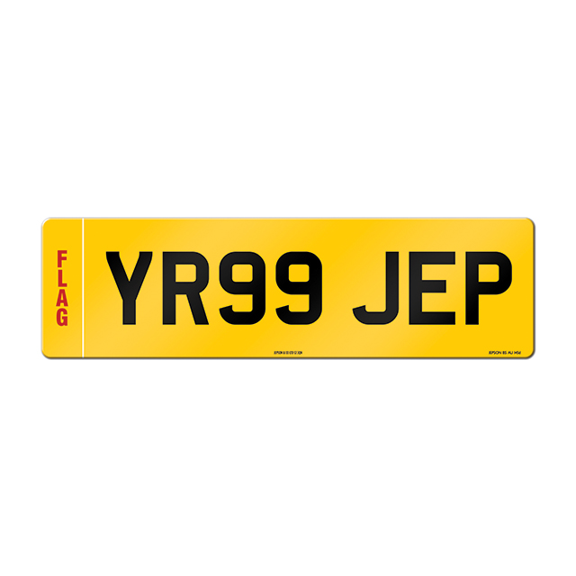 Made-up oversize car rear plate: 520 x 152mm with regional flag
